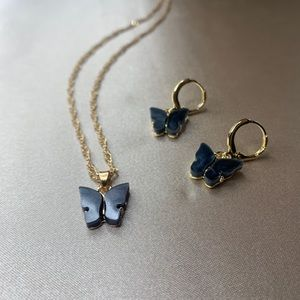 Black and gold butterfly necklace & earring set
